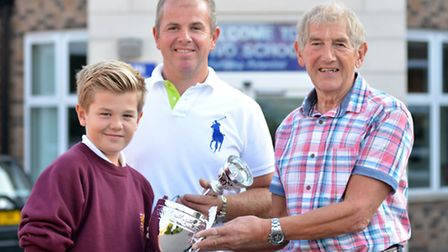 Three generations of the same family went to Ivo School, (l-r) Louis Cobb, (12) Dad Steven Cobb, (42