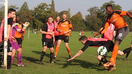 Church End defence under pressure from the Stonewood attack