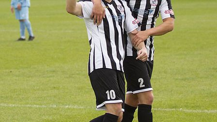 St Ives striker Danny Watson celebrates a goal with Harry O'Malley in the victory against Leighton T