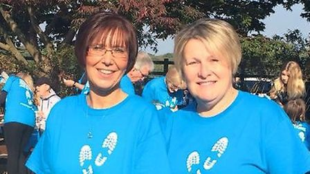 Lynn Burgess and Maxine Evans were chuffed to complete the walk.
