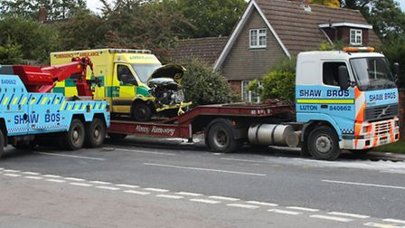 The front of the ambulance after it crashed on Watford Road last month