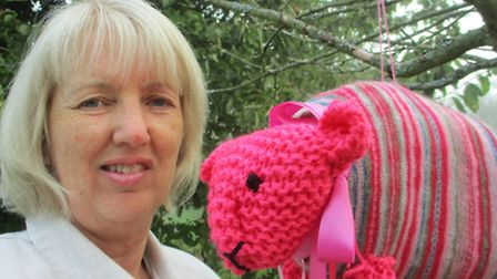 Barley Artist Alison White with Lily The Pink Lamb.