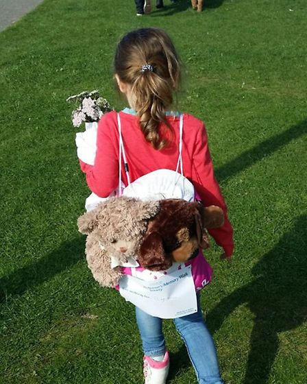 Zoë carried Emily's favourite bears in her rucksack during the walk.