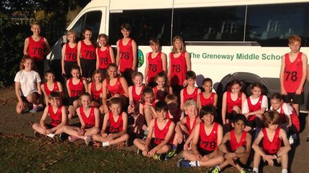 North Herts cross country team Greneway Middle School