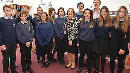 St Peter's School, Huntingdon, pupils with their Spanish visitors, and Olga Alonso, and Pedro Vazque