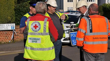 The British Red Cross attend the scene of the sink hole on Fontmell Close to aid the police