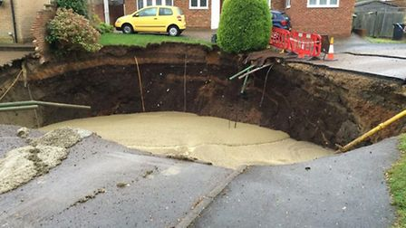 Sinkhole being filled in: Photo courtesy of Shaun Collins/Twitter