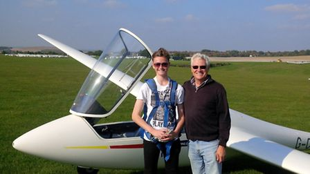 Nathan Hampson-Jones being congratulated by Robin May, Cadet coordinator and instructor at the Londo