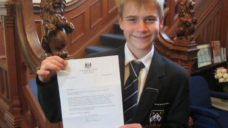 St Columba's College pupil Henry Moody, with his letter from Prime Minister David Cameron