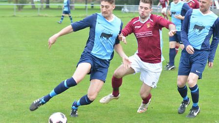 Action from Eaton Socon's triumph over Brampton in the Cambs League Kershaw Premier. Picture: HELEN