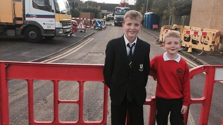 Jack and Harry Langford are among families evacuated from Fontmell Close in St Albans after the sink