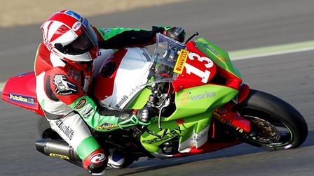 Royston rider James East National Superstock Championships. Picture: Nigel Shearing