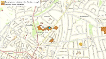 Image provided by Landmark showing the location of Fontmell Close in St Albans, and where quarrying