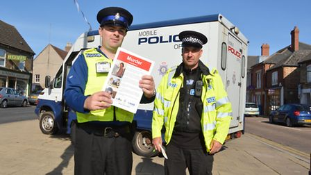 Police in Ramsey, appealing for information on the murder of Andrew Bedford, (l-r) PCSO LeeHurley, a