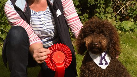 Hounds For Heroes dog show day, at The Camp, Ramsey, Sally Young, with her dog Kenny,