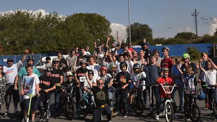 Skaters and BMX riders competed at a skate park in Stukeley Meadows.
