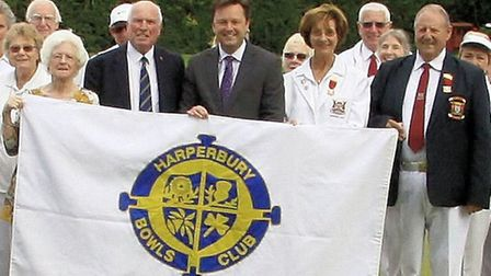 Pictured with the new flag are (l to r) Sheila Roberts and Peter Noden of Harperbury, Matthew Philli