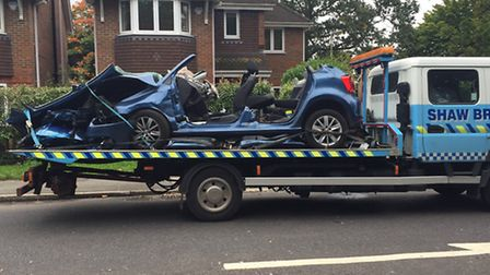 The VW Polo involved in last week's collision with an ambulance