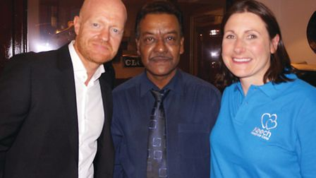 In Harpenden at Caf Jeeras charity event were, from left, EastEnders actor Jake Wood, cafe owner Far