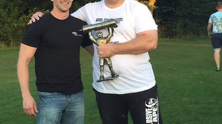 Dan Gardner, pictured right, with personal trainer Liam Rushmer.