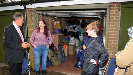 Richard Howitt MEP meets St Albans for Refugees' Liz Needham and other volunteers at their base for
