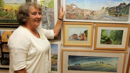 Beth Hardwicke with her art work at Royston Arts Festival exhibition