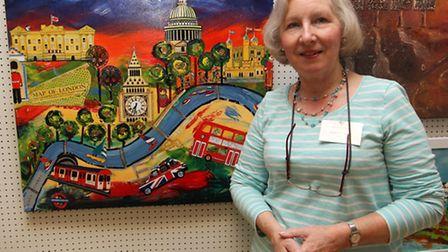 Val Pettifer with her art work at Royston Arts Festival exhibition