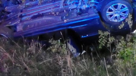 the car in the ditch at Wyton