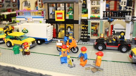 One of the many Lego model displays on show throughout the exhibition at the Lea School