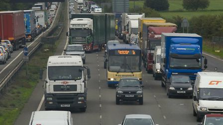 Drivers can expect long delays on the A14 after a crash involving five cars