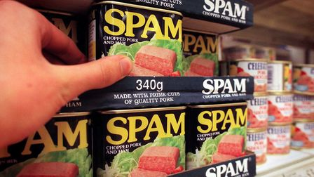 Spam on the shelves of supermarkets. Photograph: Ben Curtis/PA.