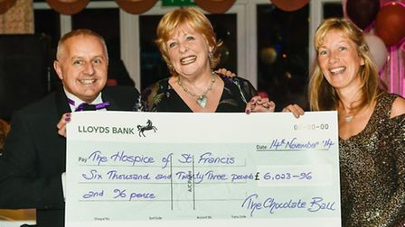 Last year's Chocolate Ball - organisers Peter and Kath Barker and (centre) Di Parry, Hospice Ambassa