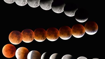 A 22-picture composite of the super blood moon, taken by Iain Petrie, of St Neots.