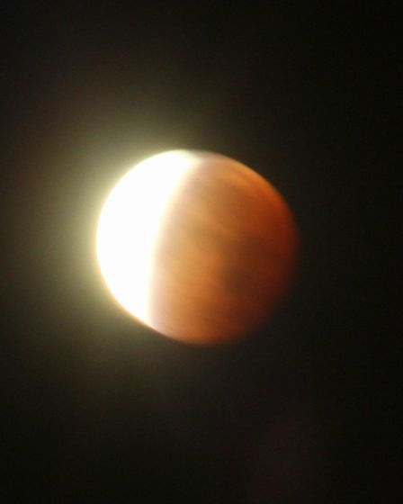The super blood moon, as captured by Michael Marshall, of Huntingdon.