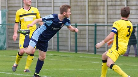 St Neots Town striker Tom Meechan was denied a consolation goal. Picture: CLAIRE HOWES
