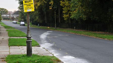 Marks on the road from the collision in the early hours of the morning on Marshal's Drive between a