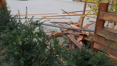 Damage to the fence of a house on Marshal's Drive where a car collided with a parked campervan