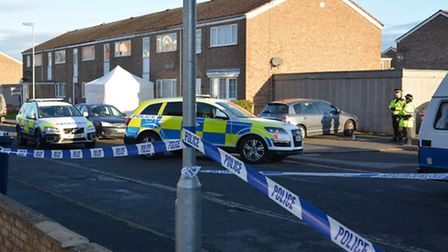 The scene of the shooting in Duck Lane, St Neots.