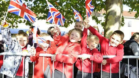 Royal Anglians on parade in St Neots, pupils from Priory Park Infants School,