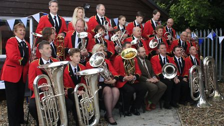 Members of the town band outside the new band room. PICTURE: Clive Porter.