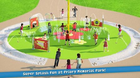 A design of the splash park set to open in Priory Memorial Gardens next year.