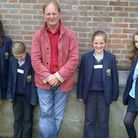 Author Michael Morpurgo with STAGS pupils at a creative writing masterclass
