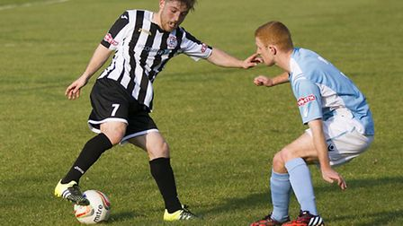 Ben Seymour-Shove was sent off in St Ives Town's defeat at Petersfield. Picture: LOUISE THOMPSON