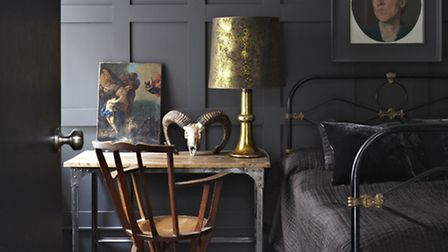 Darkly panelled walls from Farrow & Ball