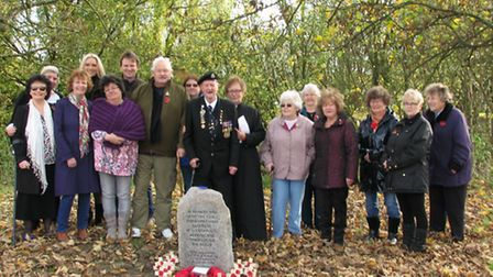 Alconbury Weston villagers with the memorial stone paid for donations by residents