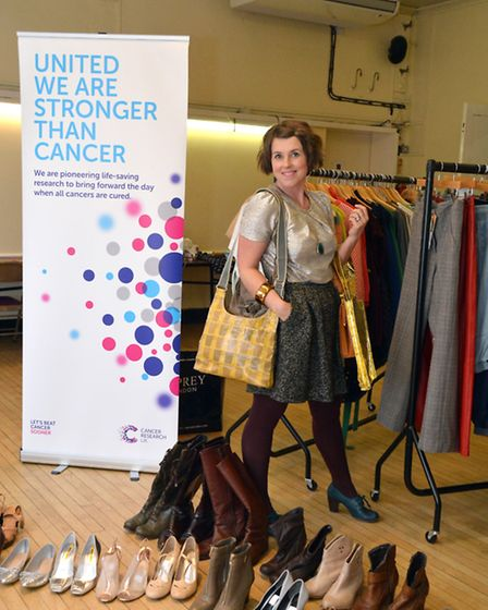 Caroline Jones with some of the clothes she sod at the CRUK fashion show