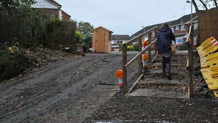 A temporary stairway has been installed to help residents gain access into Bridle Close