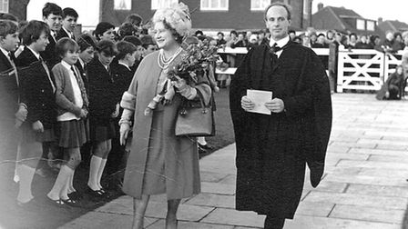 John Desmond Thomas with the Queen Mother during the formal opening of Wheathampstead School in 1967