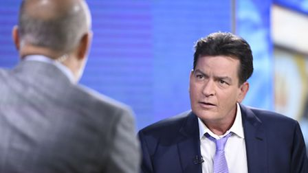 """Former """"Two and a Half Men"""" star Charlie Sheen, right, is interviewed by Matt Lauer, Tuesday, Nov. 1"""