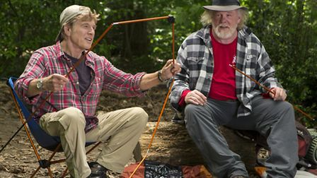 Robert Redford and Nick Nolte play two aging hikers in A Walk in the Woods